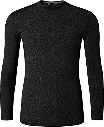 jeansian Herren Casual Long Sleeves Quick Dry T-Shirts Wicking Running Sport Tee Shirt Top LA184 LA186_Black