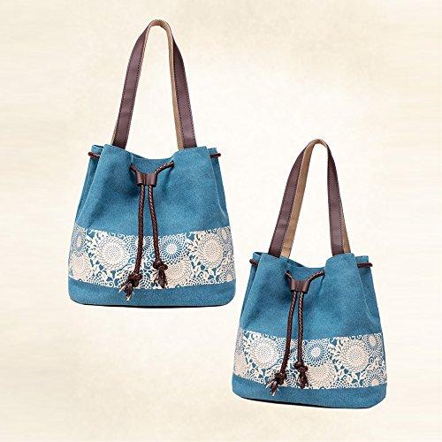mixinni® Casual Schultertasche Segeltuch Schulterbeutel Nationalen Stil Handtasche Tasche Umhängetasche Damen Taschen Sommer Crossbody Blau