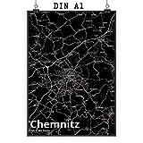Mr. & Mrs. Panda Poster DIN A1 Stadt Chemnitz Stadt Black -