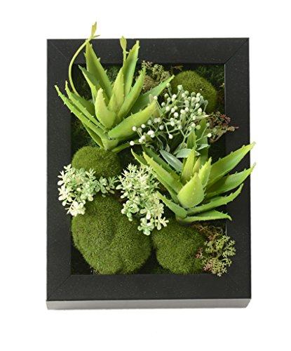 Las flores artificiales soporte de pared 3D métope suculentas en bastidor cuadrado de madera para la decoración casera 7,87 * 9,84 pulgadas