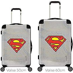 Maleta Personalizada y Personalizable, Cara Transparente, Visor Intercambiable, Ref. Marvel DC Comics Superman Logo Efecto Gris LOG-0001-SLV Negro Negro 50