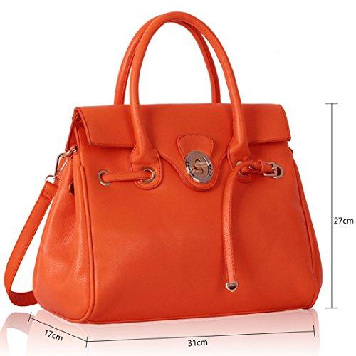 Zarla-Borsa in pelle sintetica da donna con tracolla, chiusura a cartella Arancione (arancione)