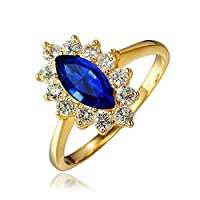 Missrui 18ct Gold Oval Blue Sapphire Princess Crown Ring for Women Girl Austrian Crystal