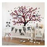 Sayala 3 Panda Wandtattoo-Wandsticker mit Floralem-Pfirsich Sakura Blumen Baum Wandbild für Mädchen/Jungen oder Baby Zimmer.2m*1.8m Wanddeko Wandtattoobaum (Rot)