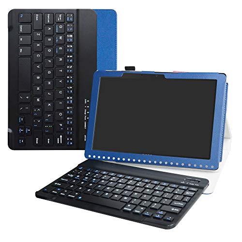 Labanema Acer B3-A50 Tastatur Hülle, Schutzhülle mit Magnetisch Abnehmbar Drahtloser Wireless Tastatur für Acer Iconia One 10 B3-A50 10,1 Zoll 2018 Tablet - Blau