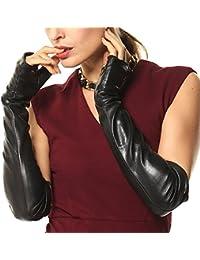 ELMA Fingerlose, ellbogenlange Damen-Fahrerhandschuhe aus Nappaleder mit vergoldetem Logo