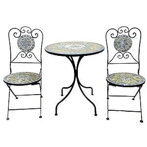 balkonset 3tlg metall mosaik gartentisch rund 60cm gartenstuhl sitzgarnitur. Black Bedroom Furniture Sets. Home Design Ideas