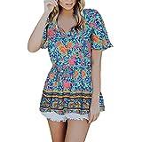 Xmiral T-Shirt Donna con V Scollo Manica Corte con Manica Corta Balze Camicia con Coulisse in Vita XXL Blu