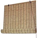 Tapparella di bamb/ù Avvolgibile per Porte e Finestre Tenda di bamb/ù Pieghevole Solagua Tenda a Rullo in bamb/ù 150 x 135 cm, Naturale x lungh.= largh