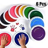 Baby Stempelkissen für Baby-Fußabdrücke, Fingerabdrücke, ideal als Geschenk für Babypartys, mehrfarbig, 6 Stück