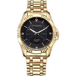 CHENXI Men's Fashion Classic Quartz Analogue Steel Gold Wrist Watch(Black)