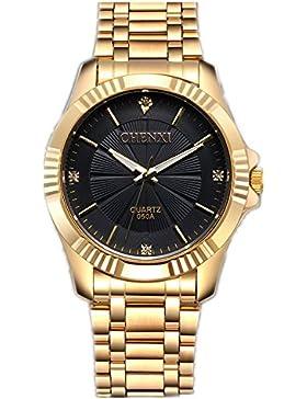 CHENXI Herrenmode Klassische Quarz Analog Stahl Gold Armbanduhr (schwarz)