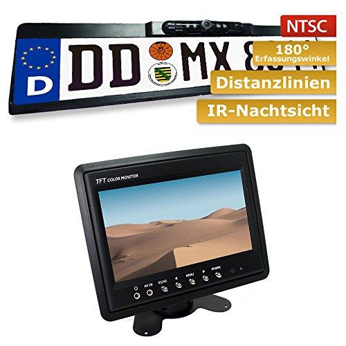 maxxcount Set: Nummernschild Rückfahrkamera + Stand-Alone Monitor 17,8cm (7 Zoll) Lcd Stand Alone Monitor