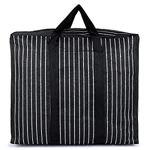 sanjis enterprises Multipurpose Large Big Toy Clothes Files Picnic Shopping Storage Organizer Grocery Vegetable Canvas Bag with Handles and Strong Base with Covers Zip, Black