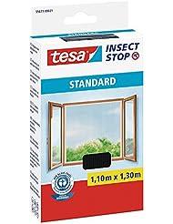 tesa® Insect Stop Fliegengitter STANDARD für Fenster, nahezu durchsichtig (1,10 m x 1,30 m / 4er Pack, anthrazit)