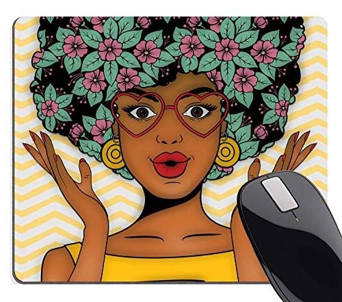Muccum Gaming Mauspad Custom, Afrikanische Frau mit bunten Blumen, Frisur, gelbes Zickzack-Mälwerk, 24,1 x 20,1 cm (240 x 200 x 3 mm)