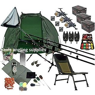 ASL Mega Full Carp Fishing Set Up Chair Rods, Reels, Alarms,Net,Handle,Bait Bivvy Shelter Tackle,Mat,Scales,Hooks P15