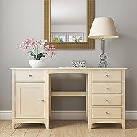 Emery 5 Drawer 1 Door Dressing Table in Cream/Ivory