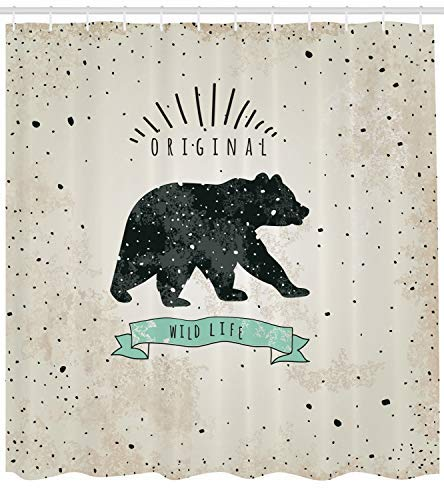 prz0vprz0v Bear Shower Curtain, Vintage Wildlife Label Hunting Theme Icon with Random Dots Predator Paws, Fabric Bathroom Decor Set with Hooks, Tan Black Mint ()