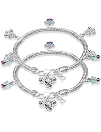 Taraash Sterling Silver Butterfly Charm Anklet for Boys and Girls (AN1025S)