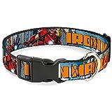 Buckle Down Katzenhalsband, mit Schnappverschluss, Motiv Iron Man mit Avengers Logo Cityscape