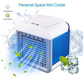STLOVE – Aire acondicionado portátil con puerto USB y función 3 en 1, humidificador y purificador de aire, ventilador de mesa para oficina, hotel, garaje, casa, etc.