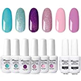 KANORINE 8pcs Nail Gel polish Set (6 colours + base & top coat)