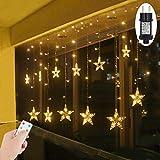 LED Lichtervorhang Sterne Warmweiß Weihnachtsbeleuchtung Fenster für Innen Außen Weihnachten Party IP44 31V Niederspannung 8 Modi mit Timer Fernbedienung Dimmbar 108er LEDs Lichterkette 2,2Mx0,9M