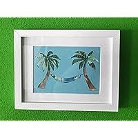 Geldgeschenk Palmen mit Hängematte im Bilderrahmen, Hochzeitsgeschenk, Geburtstagsgeschenk, Reisen, Urlaub