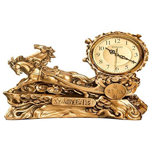 AIKAI Uhr tischuhr Desktop Dekoration Uhr Wohnzimmer Display haushaltspendeluhr Europäischen tischuhr weinschrank Handwerk Pferd 1 39 * 33 cm