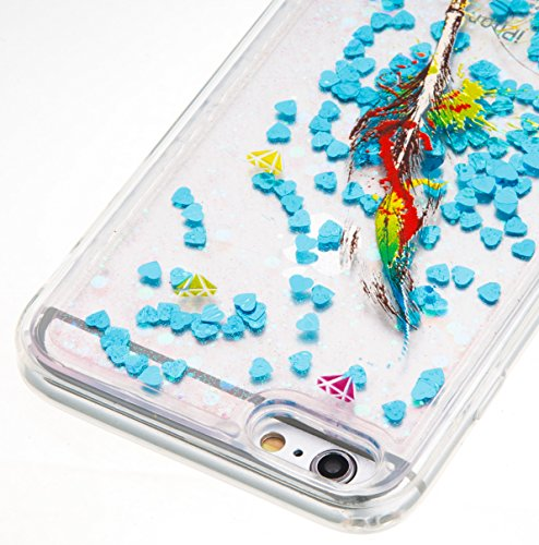 For iPhone 6 PLUS 5.5[CUTE SPARKLING]Novelty Creative Liquid Glitter Design Liquid Quicksand Bling Adorable Flowing Floating Moving Shine Glitter Case -GOLD EIFFEL BLUE FEATHERS