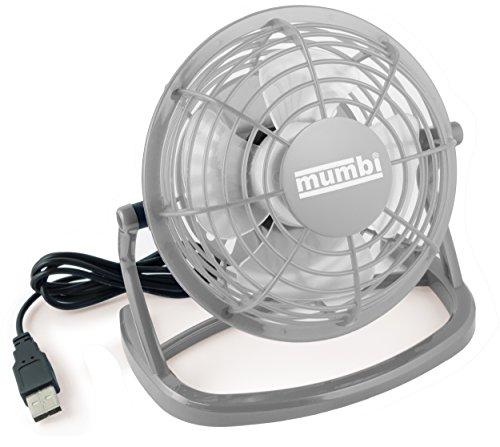 mumbi USB Ventilator, Mini Fan für den Schreibtisch mit Ein/Aus-Schalter, grau -
