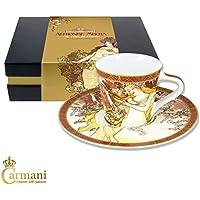 Carmani - Pequena taza con plato decorado con Primavera por pinturas Alfons Mucha 225ml