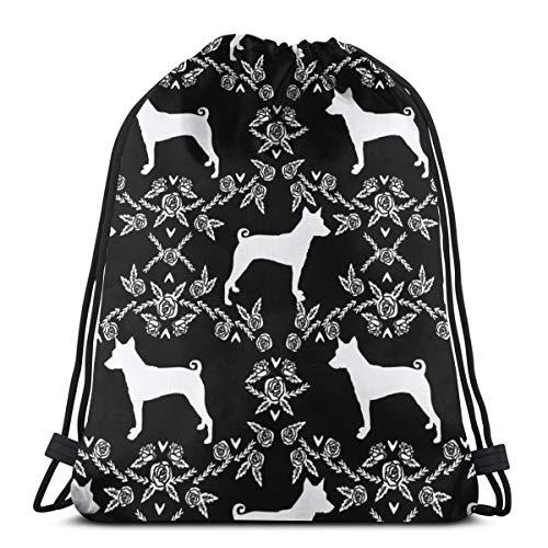 best gift Basenji Floral Silhouette Dog Breed Black and White_2761 Custom Drawstring Shoulder Bags Gym Bag Travel Backpack Lightweight Gym for Man Women 16.9