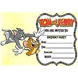 Tom y Jerry cumpleaños fiesta invita a–diseño de paisaje marco–Invitaciones de fiesta suministros/accesorios (Pack de 12) WITH Envelopes