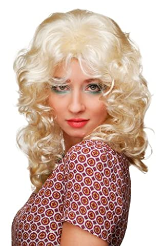 Karneval Fasching Perücke voluminös lang Blond Hellblond Engel Angel Christkind Mittelscheitel 3014-P88