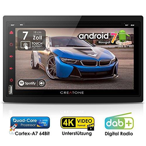 Autoradio Android 7.1 CREATONE AMG-7001 | 2DIN Naviceiver | GPS Navigation (aktuelle Europa-Karten mit Radarwarnungen) | DAB+ DigitalRadio | DVD-Player | Touchscreen 7 Zoll (18cm) | USB bis 4TB l Quad-Core Cortex A7 CPU | 16GB integriert | 4K Ultra HD 3840x2160 Video Unterstützung | WLAN | Bluetooth 4.0 (iOS und Android) | MirrorLink | OBD 2 | RDS