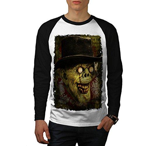Gentleman Tot Mann Zombie Monster Hut Herren M Baseball lange Ärmel T-Shirt | (Maske Tag Gentleman Der Toten)