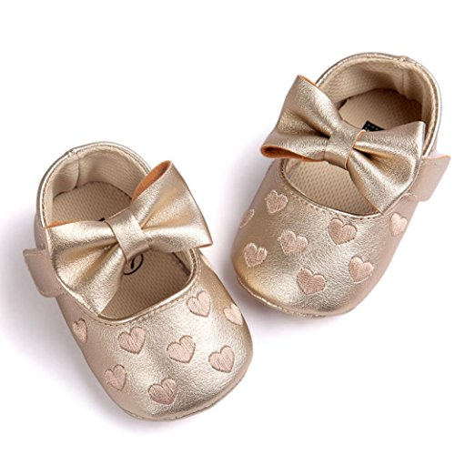 Hunpta l Lauflernschuhe Kinderschuhe Baby Mädchen Bowknot Leater Schuhe Sneaker rutschfest weiche Sohle Toddlerr Gold
