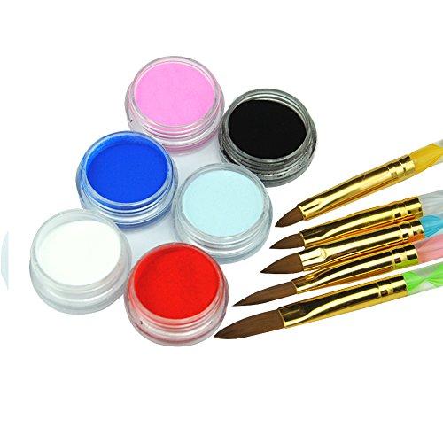 Mode Galerie 6 Mélanger Couleurs Poudre Acrylique Nail Art Décoration avec5 Pcs Brosse à Ongles Nail Outils Manucure 3D