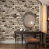 haokhome? Vintage Faux Stein Strukturtapete, beige/grau 3D Brick Realistische Papier Raum Dekoration Wand abdecken