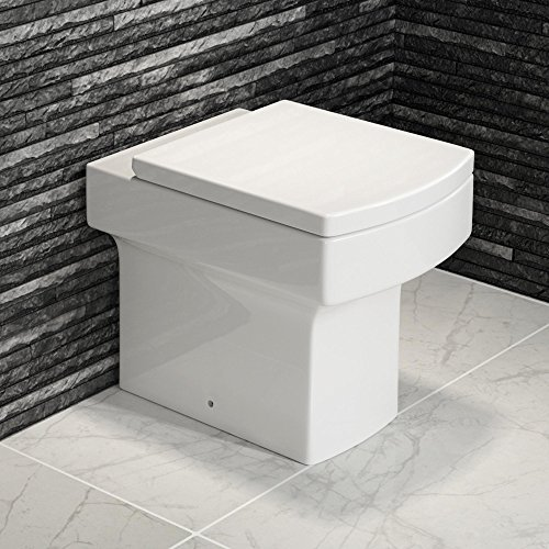 Luxury Square Back To Wall Toilet Pan & Seat Modern Ceramic Bathroom WC CT612BTW