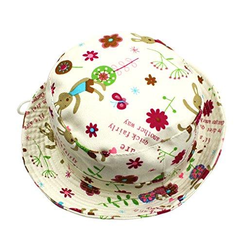 DEMU Baby Kleinkinder Fischerhut Strandhut Sommerhut Sonnenschutz Kappe Mütze (Häschen, Hut Umfang 48cm) -