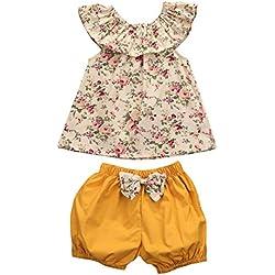 Filles Collier de feuilles de lotus Petit floral manteau short Ensemble Couleur Sans manches charmant été Vêtements Ensembles Shorts et Haut T-shirtEt Pantalons (Multicolore, 12 Mois)