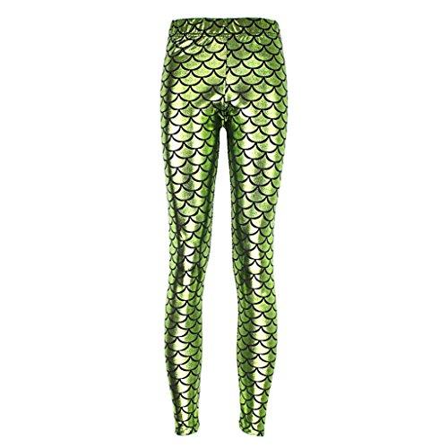 Weibliche Grüne Schlange Schuppen Fanshion Lässigkeit Gedruckt Hose Hell Grün XXL