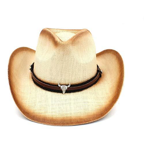 Shuo lan hu wai Sombrero de Vaquero de Paja de los Hombres de Las Mujeres con la Venda de la Cabeza del Toro para la señora Dad Sombrero Occidental Cowgirl del Hombre (Color : Natural, tamaño : 58cm)