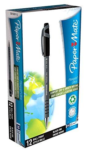 paper-9630131-mate-flexgrip-ultra-stick-medium-point-ballpoint-pens-pack-of-12-black-ink
