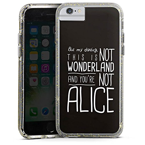 Apple iPhone X Bumper Hülle Bumper Case Glitzer Hülle Wonderland Alice Sprüche Bumper Case Glitzer gold