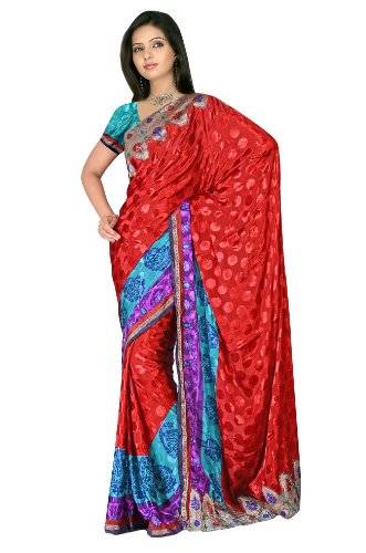 Sehgall Sarees Indian Professional Ethnic Poly Silk Crape colour red