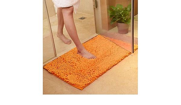 dAcqua per Vasca Tappeto da bagno in microfibra Lavabile in Lavatrice Autumer arancione antiscivolo Doccia e Bagno assorbente 45cmX70cm